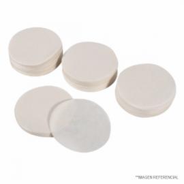 Papel filtro circular. caja 100 unid. 389F. disc 9.0 cm. W40. MFS 5B. cuantitativo. sin ceniza. media-lenta