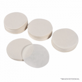 Papel filtro circular. caja 100 unid. 393. disc 9.0 cm. W42. MFS 5C. cuantitativo. sin ceniza. lento