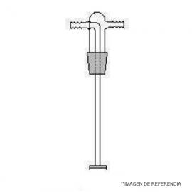 Cabezal frasco lavador Largo 185 mm. NS 29/32 con frita de vidrio por. 1