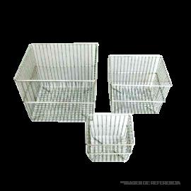 Canastillo de Ac. Inox. 33x33x30 c/asas y recubrimiento epoxico