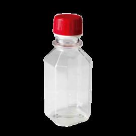 Botella plastica PE transparente. graduada. c/tapa roja de seguridad 125 ml