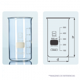 Vasos. forma alta graduados. sin pico. 100 ml. tipo Berzelius